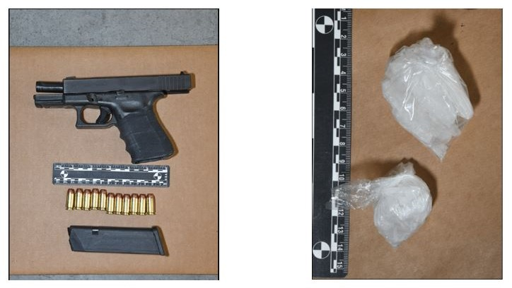 Photo of loaded handgun and two clear bags of suspected methamphetamine