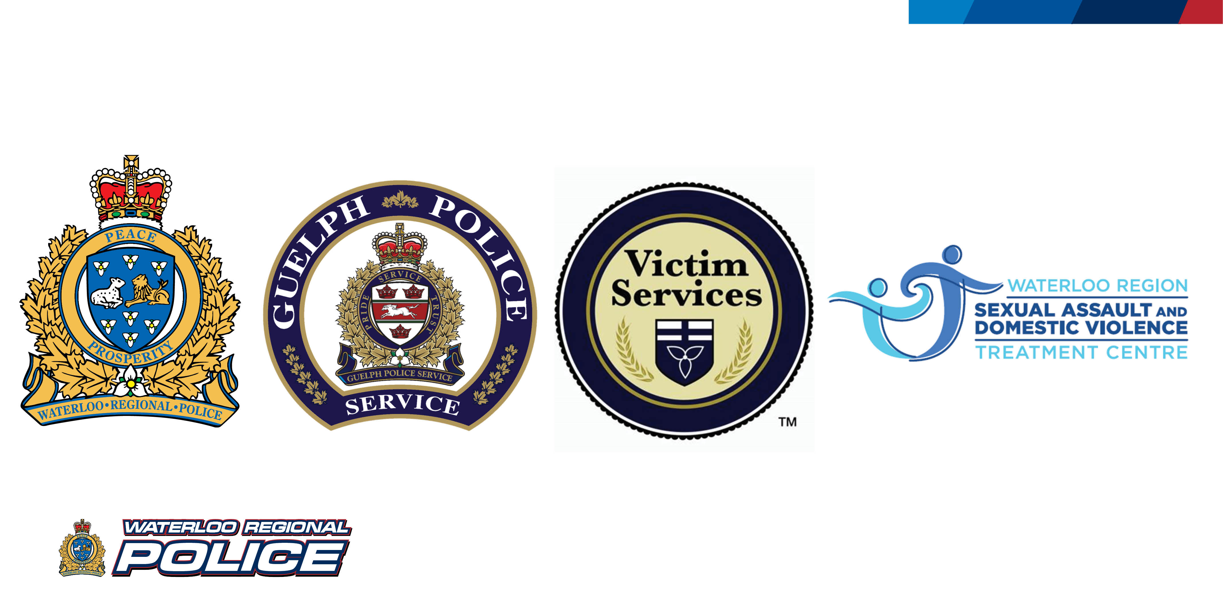 Logo for WRPS, Guelph Police, Victim Services and Waterloo Region Sexual Assault and Domestic Violence Treatment Centre